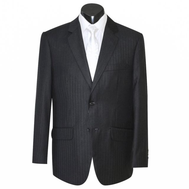 Black self stripe 2 button suit from our Private Collection- classic fit. Includes Jacket, Trousers, shirt and neckwear.  $197 hire. Vest also available.